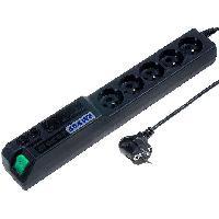 Electricite - Domotique Multiprise noire avec rallonge 1.5m - parafoudre ameliore - 5 prises 230VAC 10A avec fixations rack