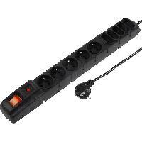 Electricite - Domotique Multiprise noire avec rallonge 3m - parafoudre - 10 prises 230VAC 10A