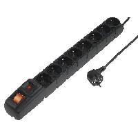 Electricite - Domotique Multiprise noire avec rallonge 3m - parafoudre - 8 prises 230VAC 10A