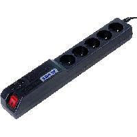 Electricite - Domotique Multiprise noire avec rallonge 5m - parafoudre ameliore - 5 prises 230VAC 10A