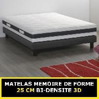 Element De Lit MEMORY BI-DENSITE - Matelas 140x190 cm - 2 places - Mousse memoire de forme - Ferme - 30 kgm3