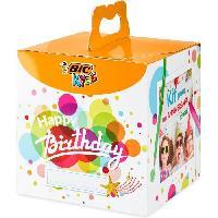 Emballage Cadeau BIC Kids Kit Anniversaire - 12Crayons de Couleurs/12 Feutres de Coloriage/12 Pastels a l'Huile/6 Tubes de Colle Pailletée/30 Sticke