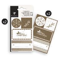 Emballage Cadeau CLAIREFONTAINE 16 étiquettes Noël - Or - 4 planches visuels assortis sous sachet