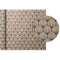 Emballage Cadeau CLAIREFONTAINE Rouleau de papier Cadeau Fleurs - Sous film - 70 g/m² - Bleu