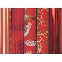 Emballage Cadeau CLAIREFONTAINE Rouleau papier cadeau Premium - 2 x 0.7 m - 80 g / m² - 6 motifs assortis sous film - Rouge