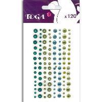 Embellissement - Petit Accessoire De Decoration - Motif A Coller 120 Strass Et Perles Bleu et Vert
