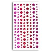Embellissement - Petit Accessoire De Decoration - Motif A Coller 120 Strass Et Perles Fuchsia et Rouge