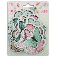 Embellissement - Petit Accessoire De Decoration - Motif A Coller 20 Chipboards Papillons Shabby
