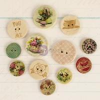 Embellissement - Petit Accessoire De Decoration - Motif A Coller Boutons En Bois - Delight