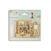 Embellissement - Petit Accessoire De Decoration - Motif A Coller Pack de 10 Formes Bois Clic Clac