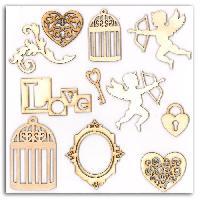 Embellissement - Petit Accessoire De Decoration - Motif A Coller Pack de 12 Formes Bois Cupidon