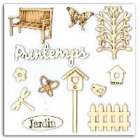 Embellissement - Petit Accessoire De Decoration - Motif A Coller Pack de 12 Formes Bois Printemps