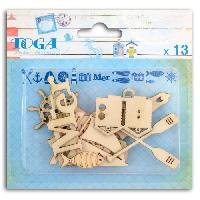 Embellissement - Petit Accessoire De Decoration - Motif A Coller Pack de 13 Formes Bois Vue Sur Mer