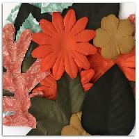 Embellissement - Petit Accessoire De Decoration - Motif A Coller Pack de 20 Feuilles et Fleurs Miel et Cannelle