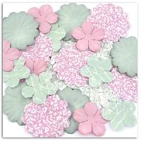 Embellissement - Petit Accessoire De Decoration - Motif A Coller Pack de 25 Fleurs Imprimees Shabby Love