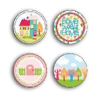 Embellissement - Petit Accessoire De Decoration - Motif A Coller Pack de 4 Badges avec attaches parisiennes Home