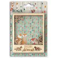Embellissement - Petit Accessoire De Decoration - Motif A Coller Pack de 4 Polaroids Bois Brut Miel et Cannelle