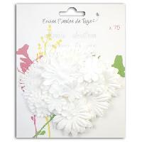 Embellissement - Petit Accessoire De Decoration - Motif A Coller Pack de 75 Fleurs Formes Blanches