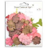 Embellissement - Petit Accessoire De Decoration - Motif A Coller Pack de 75 Fleurs Formes Brun. Rose
