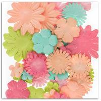 Embellissement - Petit Accessoire De Decoration - Motif A Coller Pack de 75 Fleurs Rose Melon Menthe Anis