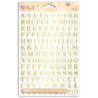 Embellissement - Petit Accessoire De Decoration - Motif A Coller Planche de transferts alphabet Stockholm en lettres dorees