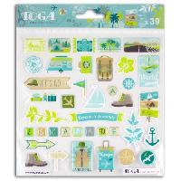 Embellissement - Petit Accessoire De Decoration - Motif A Coller Planche stickers epoxy escapade