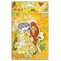Embellissement - Petit Accessoire De Decoration - Motif A Coller TOGA Lot de 20 Chipboards Feuilles et Chataignes