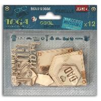 Embellissement - Petit Accessoire De Decoration - Motif A Coller TOGA Pack de 12 Formes Bois 100 Masculin