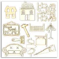 Embellissement - Petit Accessoire De Decoration - Motif A Coller TOGA Pack de 12 Formes Bois Home