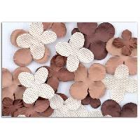 Embellissement - Petit Accessoire De Decoration - Motif A Coller TOGA Pack de 25 Fleurs Marron