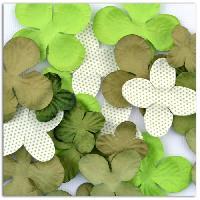 Embellissement - Petit Accessoire De Decoration - Motif A Coller TOGA Pack de 25 Fleurs Vert