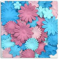 Embellissement - Petit Accessoire De Decoration - Motif A Coller TOGA Pack de 75 Fleurs Aubergine Bleue