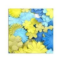Embellissement - Petit Accessoire De Decoration - Motif A Coller TOGA Pack de 75 Fleurs Mix Bleu Vert