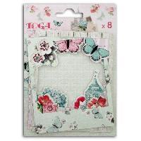 Embellissement - Petit Accessoire De Decoration - Motif A Coller TOGA Pack de 8 Polaroids Shabby Love