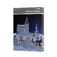 Embellissement - Petit Accessoire De Decoration - Motif A Coller Villages de noel en LED - h20 cm - 7 pieces