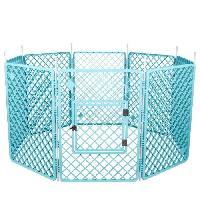 Enclos - Chenil IRIS OHYAMA - Grand parc H-908 - Plastique - Bleu - 60 x 60 x 86 cm - Pour chien