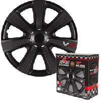 Enjoliveur 4 Enjoliveurs 14p Carbon Look noir 4RACING - ADNAuto