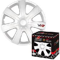 Enjoliveur 4 Enjoliveurs 15p Carbon Look - Blanc - 4RACING - ADNAuto