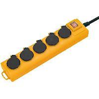Enrouleur BRENNENSTUHL Multiprise Super-Solid 5 prises avec clapets -IP54. robuste. 2m de cable. avec crochet-. Noir et Jaune