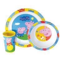 Ensemble - Set Repas Fun House Peppa Pig ensemble repas comprenant 1 assiette. 1 verre et 1 bol pour enfant