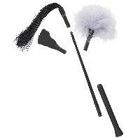 Ensemble Mini Fouet avec 3 accessoires - 40cm noir