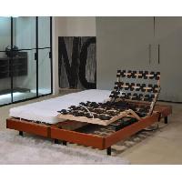 Ensemble Sommier Matelas MURCIE Ensemble relaxation matelas + sommiers electriques 2 x 80 x 200 cm - Mousse - 14 cm - Tres ferme - Cerisier