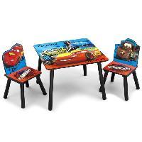 Ensemble Table Et Chaise Bebe CARS - Ensemble Table et 2 Chaises Bois Enfant - Noir et Multicolore - Delta Children