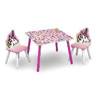 Ensemble Table Et Chaise Bebe DELTAKIDS - GN - Ensemble Table et 2 Chaises Bois Enfant - Licorne