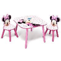 Ensemble Table Et Chaise Bebe MINNIE - Ensemble Table et 2 Chaises Bois Enfant - Rose et Multicolore - Delta Children