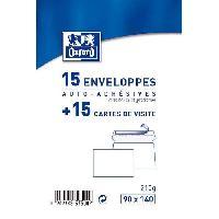 Enveloppe 15 Cartes + 15 enveloppes de visite - 14 cm x 9 cm x 1.1 cm - Blanc