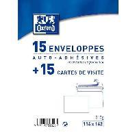 Enveloppe 15 Cartes + 15 enveloppes de visite - 16.2 cm x 11.4 cm x 1.1 cm - Blanc
