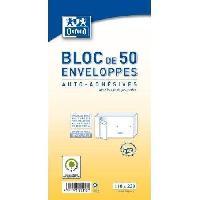 Enveloppe Bloc de 50 enveloppes pre-casees auto-adhesives - 22 cm x 11 cm x 2 cm - 80g
