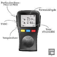 Environnement (qualite De L'air - Deperdition De Chaleur - Mesure Thermique - Hygrometre) ORIUM Mesureur analyseur qualité de l'air Complet Portable - Référence 23625