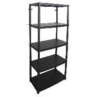 Etabli - Systeme Perfo - Armoire - Mobilier Atelier Etagere - 5 Plateaux - 71 x 38 x 170 cm - Noir